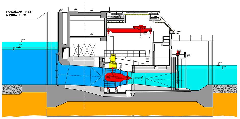 Malá vodná elektráreň Pálenisko - Rez