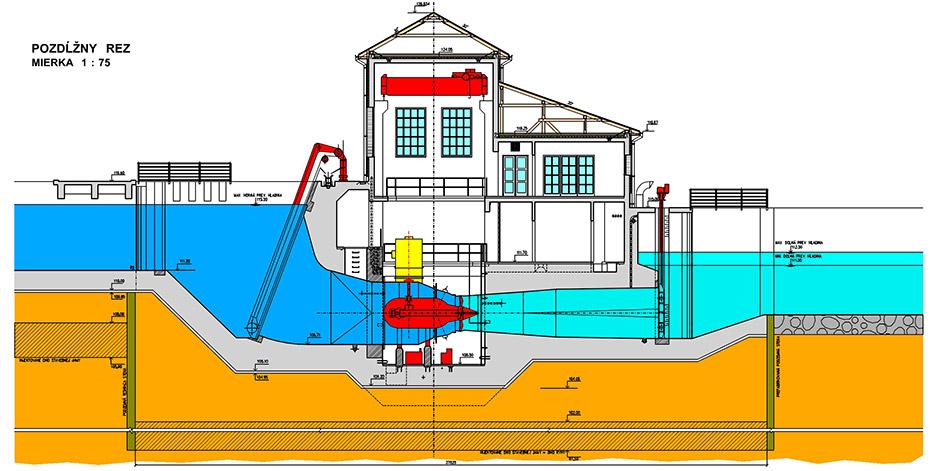 Malá vodná elektráreň Veľké BlahovoMalá vodná elektráreň Veľké Blahovo - Rez