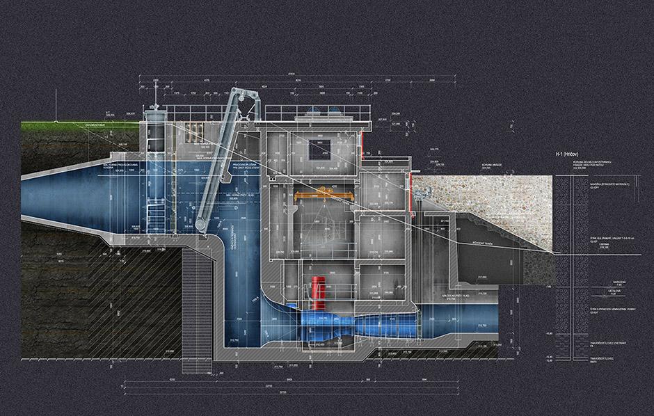 Malá vodná elektráreň Hričov - Rez