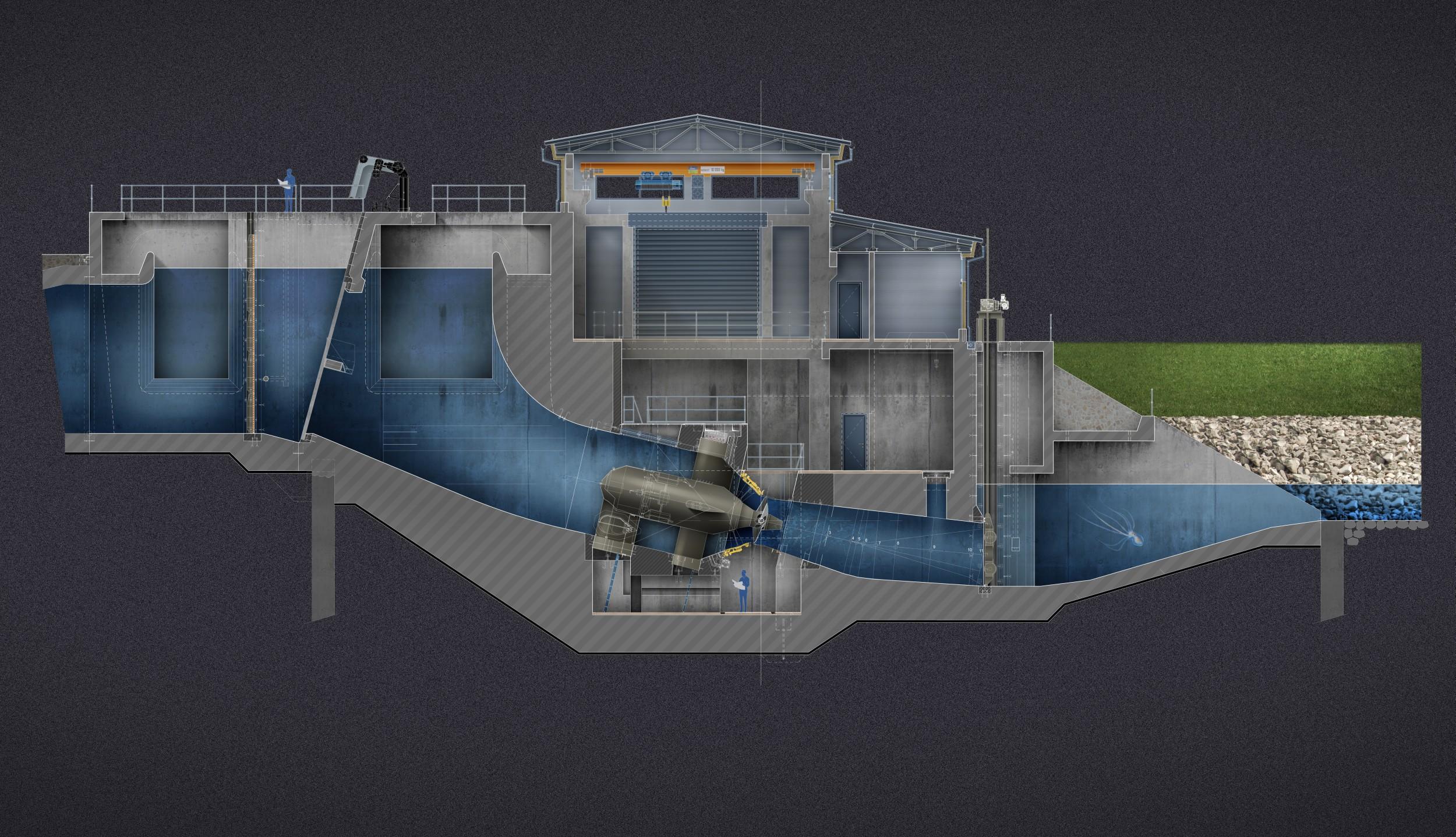 Malá vodná elektráreň Dobrohošť - Rez